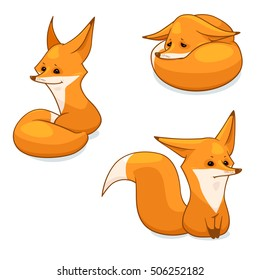 Cartoon red fox character, vector illustration, isolated on white background