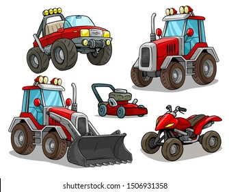 Cartoon red front loader bulldozer or tractor with shovel, offroad monster truck, modern quad motorbike and lawn mower. Isolated on white background. Vector icon set.