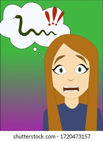 Cartoon red haired emotional girl afraid of snakes, vector illustration. Phobia, fear, psychology. Child problem, Vertical image