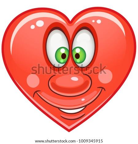 Cartoon Red Heart Emoticons Smiley Emoji Stock Vector Royalty Free