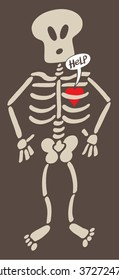 Cartoon red heart feeling in captivity inside the bones of the rib cage of a surprised skeleton, expressing a love pang and asking for help by showing a speech bubble. Dark background