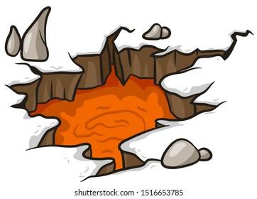 Cartoon red hot fiery orange volcanic lava in earth divide