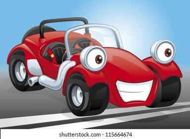 Cartoon red kit car