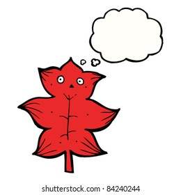 cartoon red leaf with thought bubble