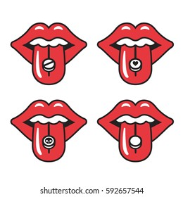 Cartoon red lips with different pills on tongue. Young woman taking drugs. Extasy, MDMA recreational drug vector illustration.