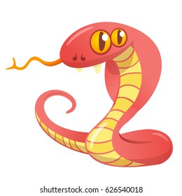 Cartoon red snake.Vector illustration