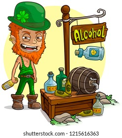Cartoon redhead angry leprechaune with bottle character and alcohol vendor booth or shop market with text sign. Vector icon for game.