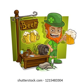 Cartoon redhead angry leprechaune character and beer vendor booth or shop market with text sign. Vector icon for game.