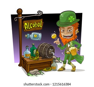 Cartoon redhead angry leprechaune with gold coin character and alcohol vendor booth or shop market with text sign. Vector icon for game.