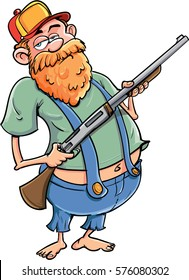 Cartoon redneck with a rifle and baseball cap