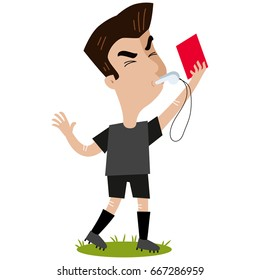 Cartoon referee blowing whistle and holding red card isolated on white background