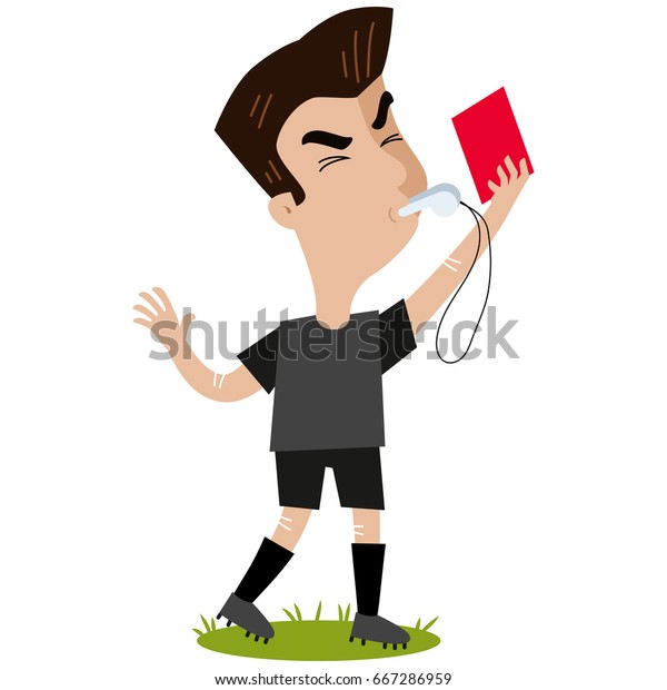 Cartoon Referee Blowing Whistle Holding Red Stock