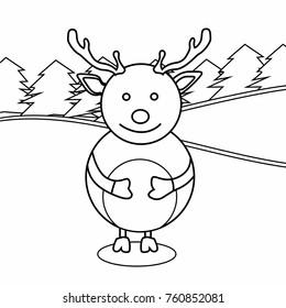 Little Cartoon Reindeer Scarf Around His Stock Vector Royalty Free