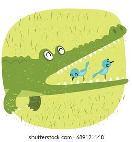 cartoon relationship between crocodile and bird