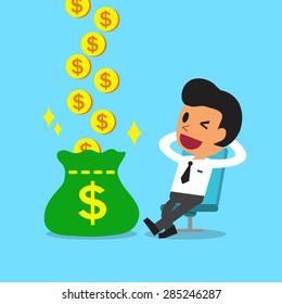 Cartoon relax businessman earning money