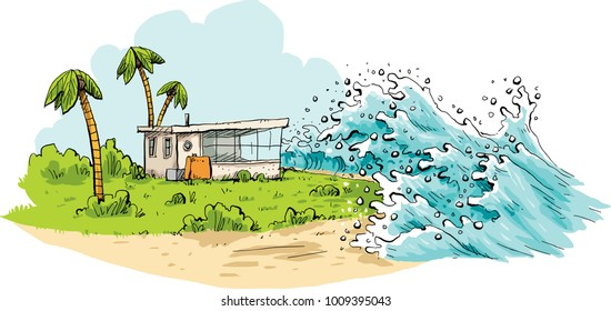 Cartoon of a relaxing tropical vacation destination being swamped by huge tsunami waves coming over a beach.