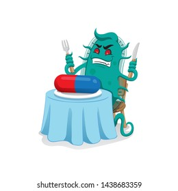 Cartoon representation of a super bacterium a microorganism, sitting at the table feeding the medicine or antibiotic and resistant ending. Ideal for informative and medicinal materials
