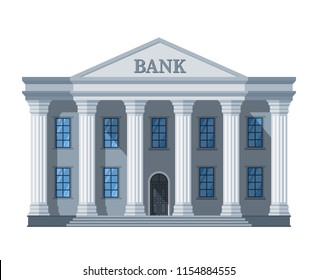 Cartoon retro bank building or courthouse with columns vector illustration isolated on white background. Bank building architecture with column