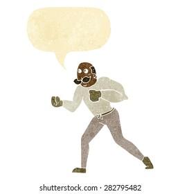 cartoon retro boxer man with speech bubble