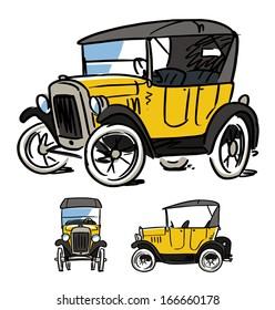 cartoon retro car. 1910-1920s