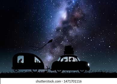 Cartoon retro car on country road at night. Vector illustration with silhouettes of woman and dog traveling with camper trailer. Family road trip. Space dark background with starry sky and Milky Way