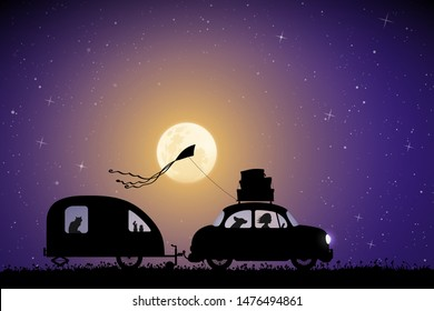Cartoon retro car on country road on moonlit night. Vector illustration with silhouettes of woman and dog traveling with camper trailer. Family road trip. Full moon in starry sky