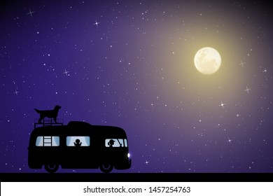 Cartoon retro car on road on moonlit night. Vector illustration with silhouettes of people and dog traveling in camper. Family road trip. Full moon in starry sky