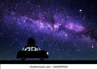 Cartoon retro car on road at night. Vector illustration with silhouettes of woman and dog traveling in camper. Family road trip. Space dark background with starry sky and Milky Way