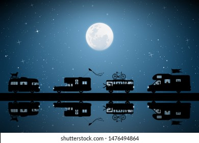 Cartoon retro cars on road on moonlit night. Vector illustration with silhouettes of people and pets traveling in campers. Family road trip. Full moon in starry sky