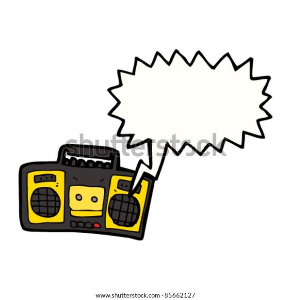 cartoon retro cassette player