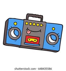 cartoon retro cassette tape player