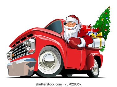 Cartoon retro Christmas delivery truck. Available eps-10 vector format separated by groups with transparency effects for one-click repaint