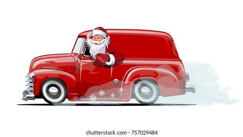 Cartoon retro Christmas delivery van. Available eps-10 vector format separated by groups with transparency effects for one-click repaint.