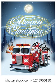 Cartoon retro Christmas poster with firetruck and Santa Claus. Available eps-10 vector format separated by groups and layers for easy edit