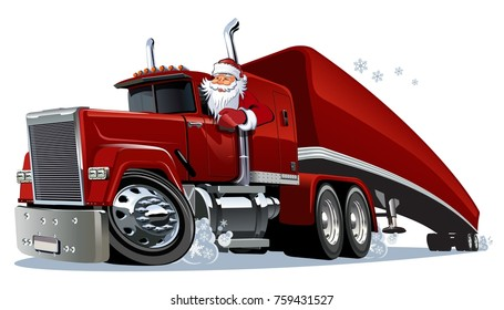 Cartoon retro Christmas semi truck. Available eps-10 vector format separated by groups and layers for easy edit