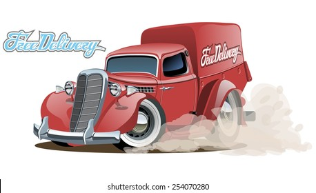 Cartoon retro delivery van. Available eps-10 vector format separated by groups with transparency effects for one-click repaint