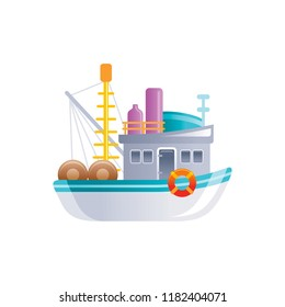 Cartoon retro fishing bppoat icon.Vintage trawler ship for logo, sea travel, cruise and water transport design.  Flat vector illustration isolated on white background.
