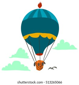 Cartoon Retro hot air balloon sky background flat icon. The vector illustration for ui, web games, tablets, wallpapers, and patterns.