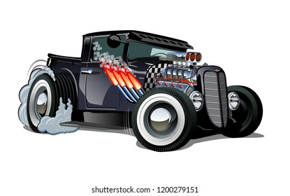 Cartoon retro hot rod isolated on white background. Available EPS-10 vector format separated by groups and layers for easy edit