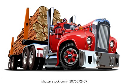 Cartoon retro logging truck isolated on white background. Available EPS-10 vector format separated by groups and layers for easy edit
