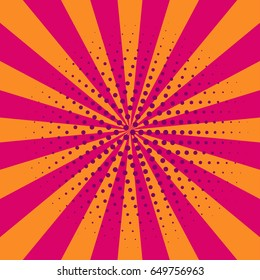 Cartoon retro pink and orange pop art card, banner, flyer with rays. Vector illustration of explosion, burst.