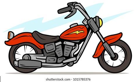 Cartoon retro red motorbike with yellow lightning. Vector icon.