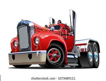 Cartoon retro semi truck isolated on white background. Available EPS-10 vector format separated by groups and layers for easy edit