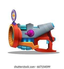 Cartoon retro space blaster, ray gun, laser weapon. Vector illustration.