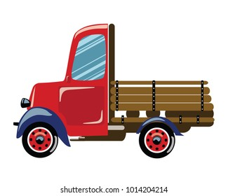 Cartoon retro truck. Vector illustration of a commercial transport. Drawing for children.
