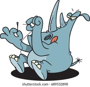 cartoon rhino trying to thread a needle