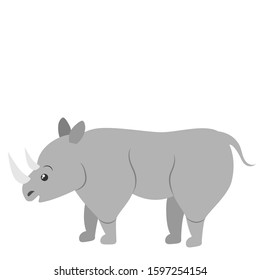 Cartoon rhino. Vector illustration on a white background. Drawing for children.