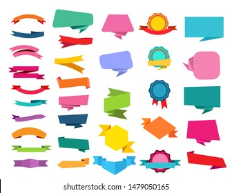 Cartoon ribbon set. Speech bubbles, origami, medal, awards. Banners concept. Vector illustrations can be used for sale, tag, emblem templates