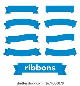 Cartoon ribbon set vector illustration. Banner ribbon vector set. Colored ribbon for decoration