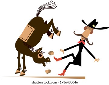 Cartoon rider and a balky horse isolated illustration. Funny horse kicks a confused long mustache man or cowboy isolated on white